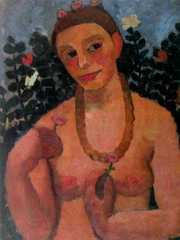 Paula Becker, autoportrait au collier, 1906.